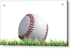 Baseball Ball Resting On Grass Acrylic Print by Allan Swart