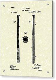 Baseball Bat 1885 Patent Art Acrylic Print by Prior Art Design