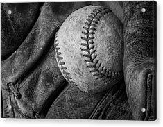 Baseball Black And White Acrylic Print