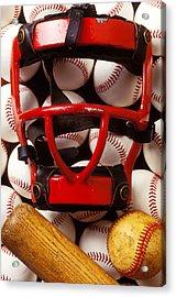 Baseball Catchers Mask And Balls Acrylic Print by Garry Gay