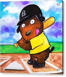 Baseball Dog Acrylic Print by Scott Nelson