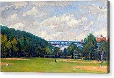 Baseball Fields Inwood Henry Hudson Bridge 8x14 Original Plein Air Impressionist Oil On Panel Acrylic Print by Thor Wickstrom
