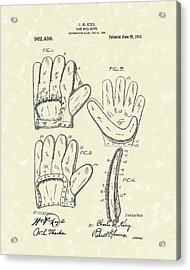Baseball Glove 1910 Patent Art Acrylic Print