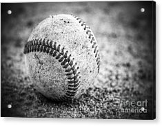 Baseball In Black And White Acrylic Print