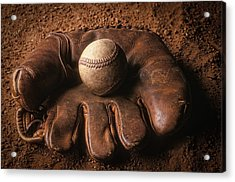Baseball In Glove Acrylic Print by John Wong