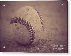 Baseball In Sepia Acrylic Print