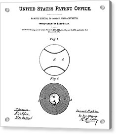Baseball Patent 1876  Acrylic Print by Bill Cannon
