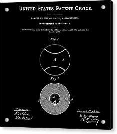 Baseball Patent 1876 Black Acrylic Print by Bill Cannon