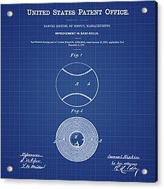 Baseball Patent 1876 Blueprint Acrylic Print by Bill Cannon