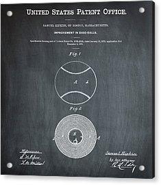Baseball Patent 1876 Chalk Acrylic Print by Bill Cannon