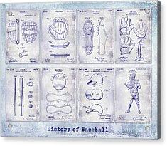 Baseball Patent History Blueprint Acrylic Print