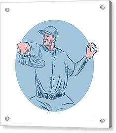 Baseball Pitcher Throwing Ball Circle Drawing Acrylic Print by Aloysius Patrimonio