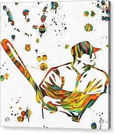 Baseball Player Paint Splatter Acrylic Print by Dan Sproul