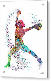 Baseball Softball Pitcher Watercolor Print Acrylic Print