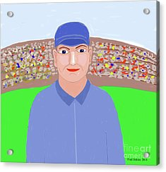 Baseball Star Portrait Acrylic Print by Fred Jinkins