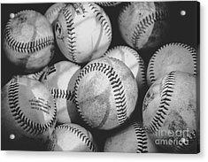 Baseballs In Black And White Acrylic Print