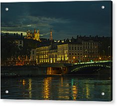 Basilica Notre Dame De Fourviere From Across The Rhone River Acrylic Print by Allen Sheffield