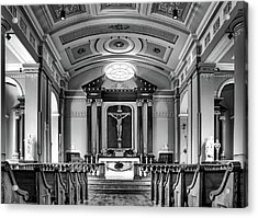 Acrylic Print featuring the photograph Basilica Of Saint Louis King - Black And White by Nikolyn McDonald