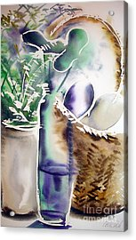 Acrylic Print featuring the painting Basket And Bottle by Allison Ashton