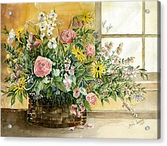 Basket Bouquet Acrylic Print by Arline Wagner