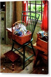 Basket Of Cloth And Yarn On Chair Acrylic Print by Susan Savad