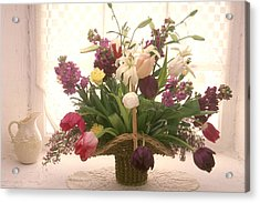 Basket Of Flowers In Window Acrylic Print by Garry Gay