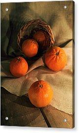 Acrylic Print featuring the photograph Basket Of Fresh Tangerines by Jaroslaw Blaminsky