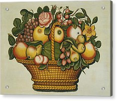 Basket Of Fruit And Flowers Acrylic Print by American 19th Century