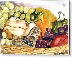 Acrylic Print featuring the painting Basket Of Fruit by Pat Crowther