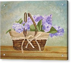 Basket Of Lilacs Acrylic Print