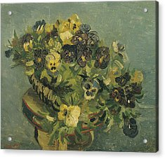 Basket Of Pansies On A Small Table Acrylic Print by Vincent van Gogh