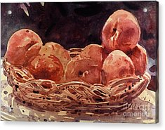 Basket Of Peaches Acrylic Print by Donald Maier