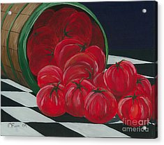 Acrylic Print featuring the painting Basket Of Tomatoes by Gail Finn