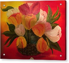Basket Of Tulips Acrylic Print