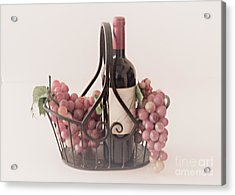 Basket Of Wine And Grapes Acrylic Print by Sherry Hallemeier