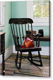 Basket Of Yarn On Rocking Chair Acrylic Print by Susan Savad