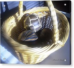 Basket With Brown Patterned Decor In The Sunlight Acrylic Print