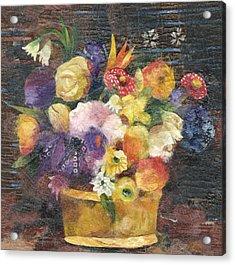 Basket With Flowers Acrylic Print by Nira Schwartz