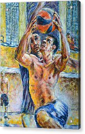 Basketball. In The Attack Acrylic Print by Evgeni Bazelevski