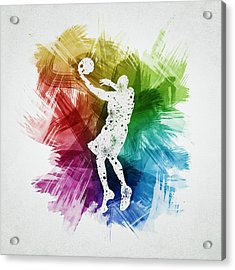 Basketball Player Art 01 Acrylic Print by Aged Pixel