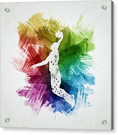 Basketball Player Art 03 Acrylic Print by Aged Pixel