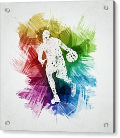 Basketball Player Art 06 Acrylic Print by Aged Pixel