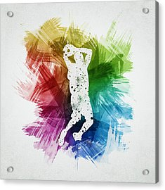 Basketball Player Art 07 Acrylic Print by Aged Pixel