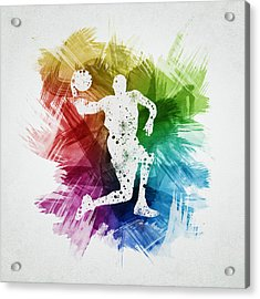 Basketball Player Art 12 Acrylic Print by Aged Pixel