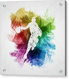 Basketball Player Art 14 Acrylic Print by Aged Pixel
