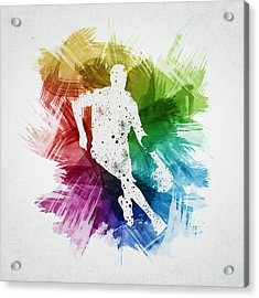 Basketball Player Art 15 Acrylic Print by Aged Pixel