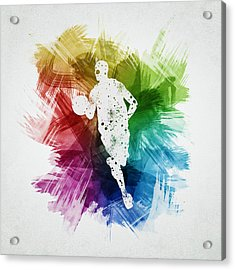 Basketball Player Art 17 Acrylic Print by Aged Pixel