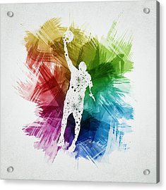 Basketball Player Art 19 Acrylic Print by Aged Pixel