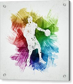Basketball Player Art 21 Acrylic Print by Aged Pixel