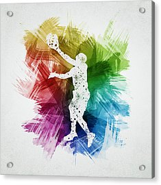 Basketball Player Art 23 Acrylic Print by Aged Pixel